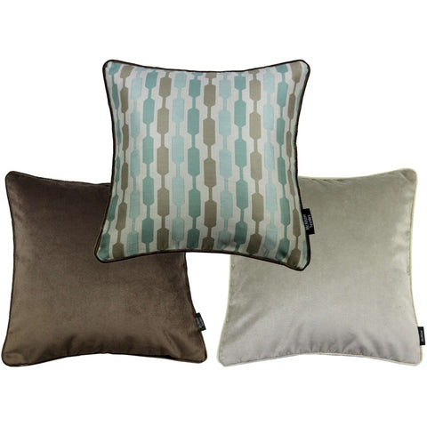 McAlister Textiles Lotta + Velvet Cushion Set of 3 - Duck Egg Blue-Cushions and Covers-