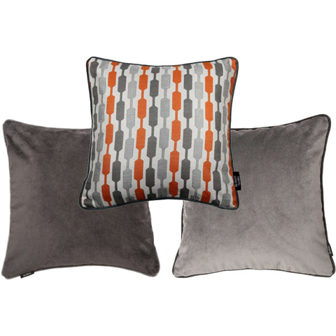 McAlister Textiles Lotta + Velvet Cushion Set of 3 - Burnt Orange + Grey-Cushions and Covers-