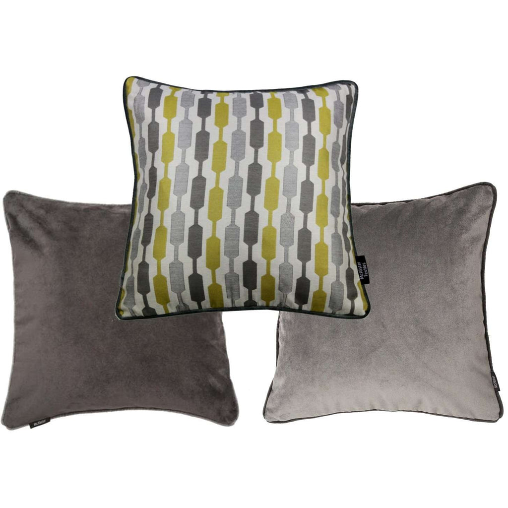 McAlister Textiles Yellow Geometric and Plain Velvet 43cm x 43cm Cushion Set of 3 Cushions and Covers Cushion Cover