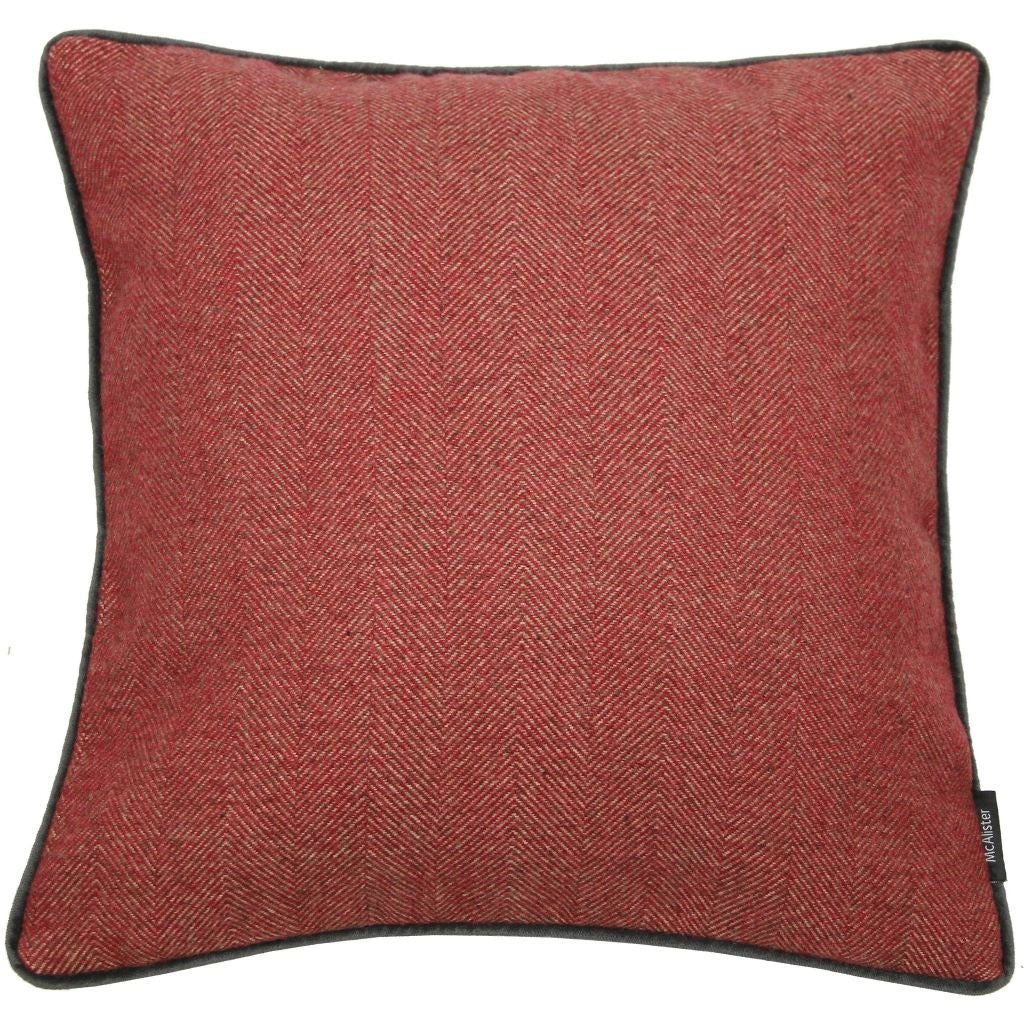 McAlister Textiles Herringbone Boutique Red + Grey Cushion Cushions and Covers Cover Only 43cm x 43cm
