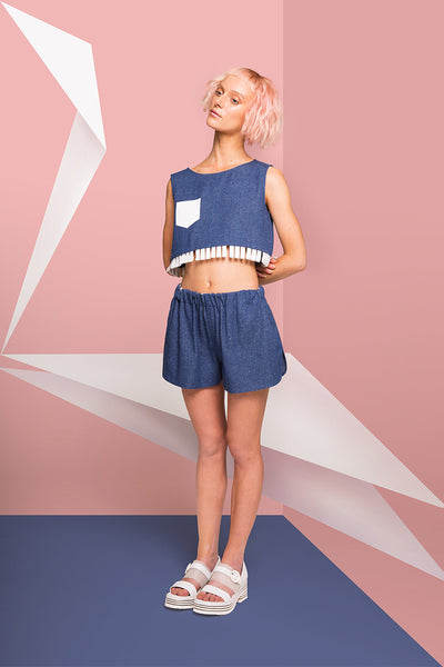MIN WU   Silk Denim Crop Top with Sticker Pocket