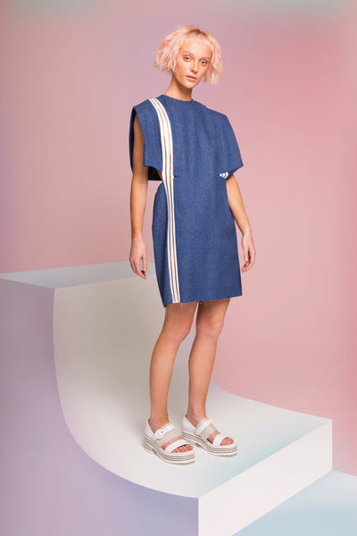 MIN WU   Silk Denim Dress with Crossed Back Strap
