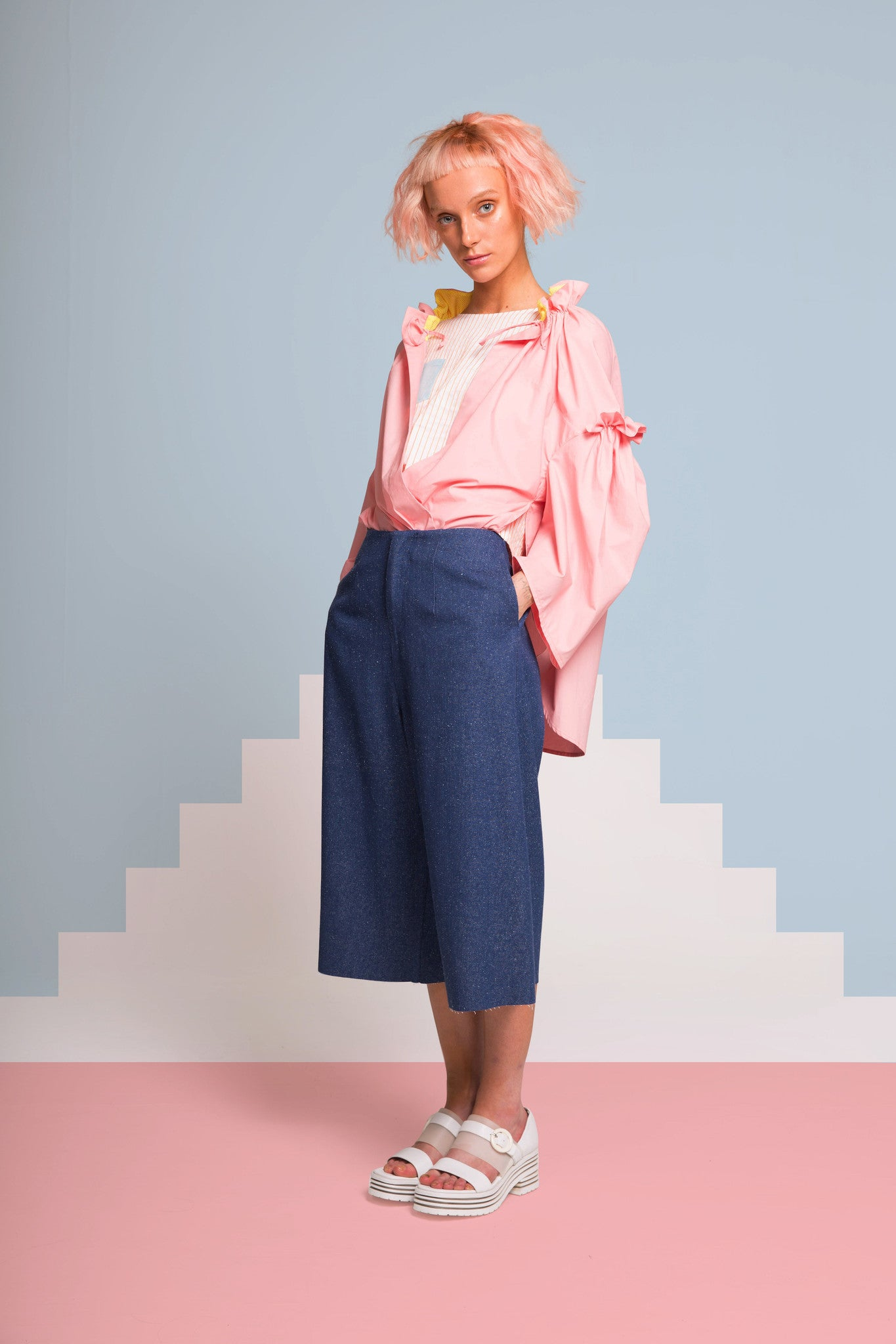 MIN WU   White/Pink Ruffle Sleeve Shirt with Gathered Neck