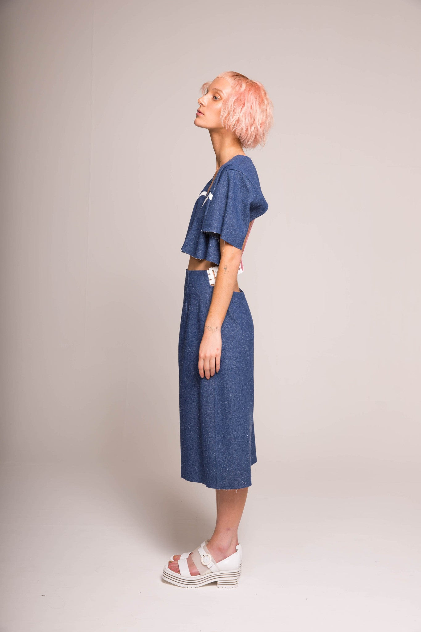 MIN WU  Cropped Silk Denim Jacket with Pink Tulle Back /Skirt with Back Waistband Strap