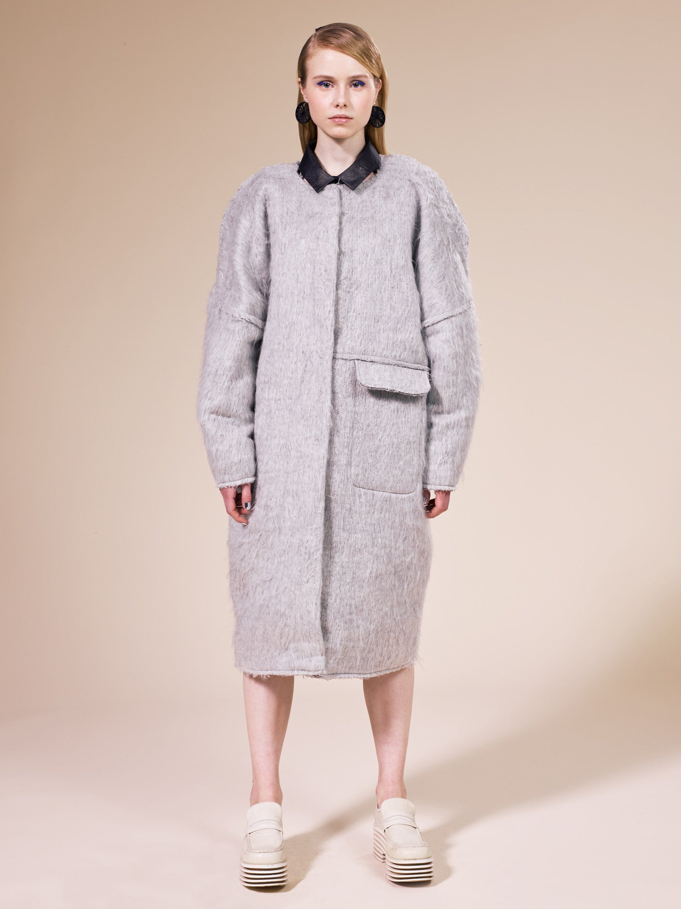 WOOL/DIPDYE SILK LONG COAT