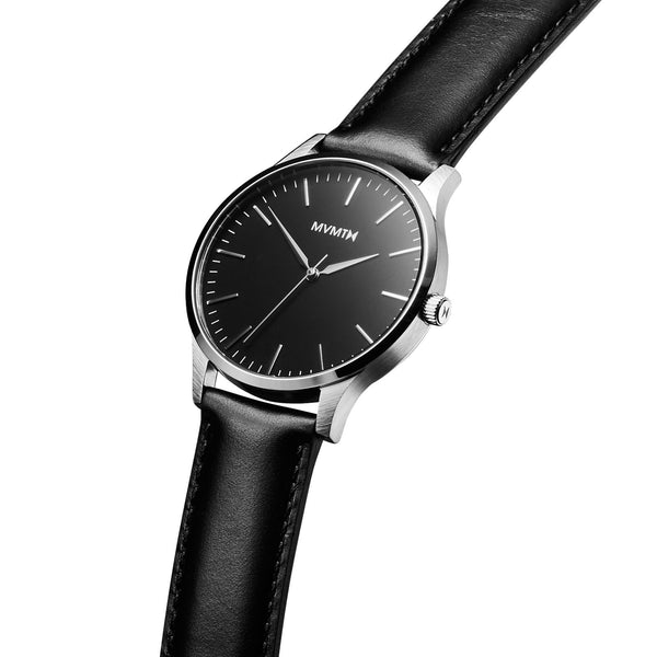 Đồng Hồ MVMT The 40 Series - Black/Silver Leather