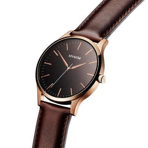 Đồng Hồ MVMT The 40 Series - Rose Gold/Brown Leather