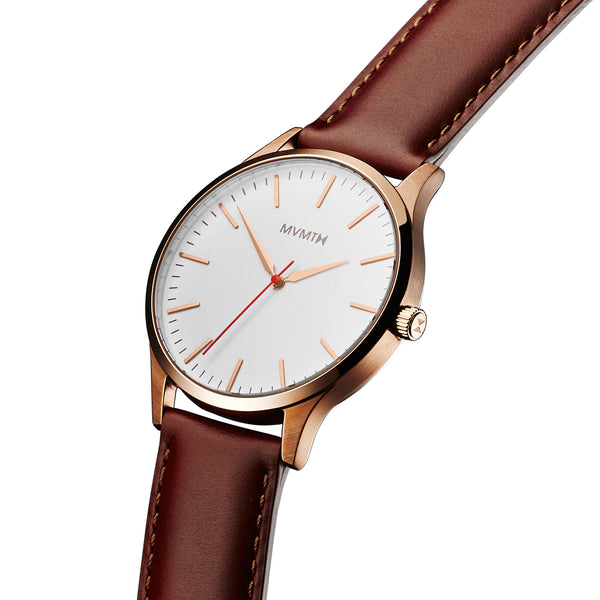 Đồng Hồ MVMT The 40 Series - Rose Gold/Natural Leather