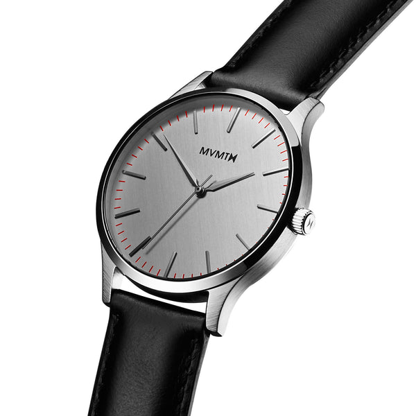 Đồng Hồ MVMT The 40 Series - Silver/Black Leather