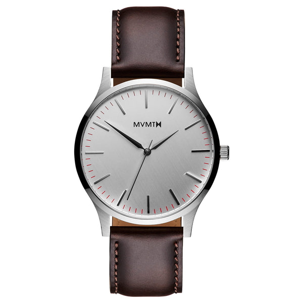 Đồng Hồ MVMT The 40 Series - Silver/Brown Leather