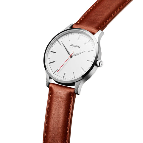 Đồng Hồ MVMT The 40 Series - Silver/Natural Leather