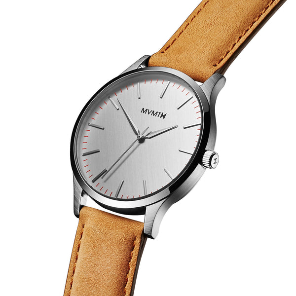 Đồng Hồ MVMT The 40 Series - Silver/Tan Leather