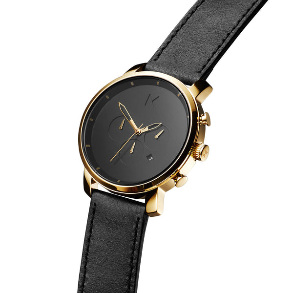 Đồng Hồ MVMT Chrono Gold Black Leather