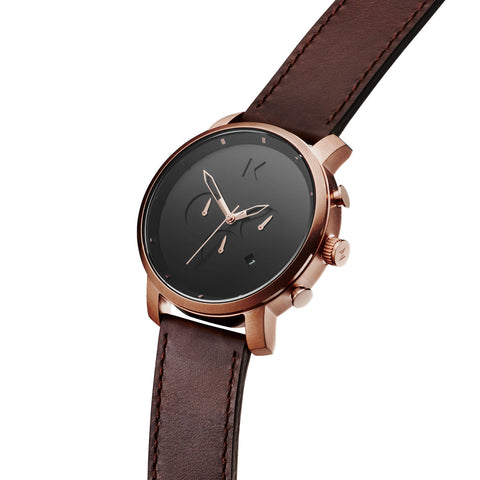 Đồng Hồ MVMT Chrono Rose Gold/Brown Leather