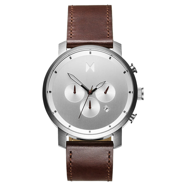 Đồng Hồ MVMT Chrono Silver/Brown Leather