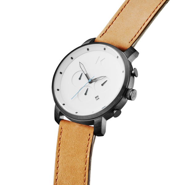Đồng Hồ MVMT Chrono White Black/Tan Leather