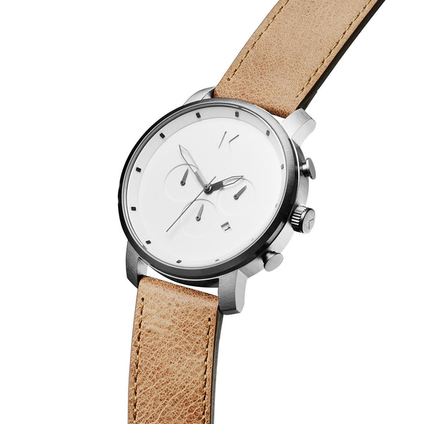 Đồng Hồ MVMT Chrono White/ Caramel Leather