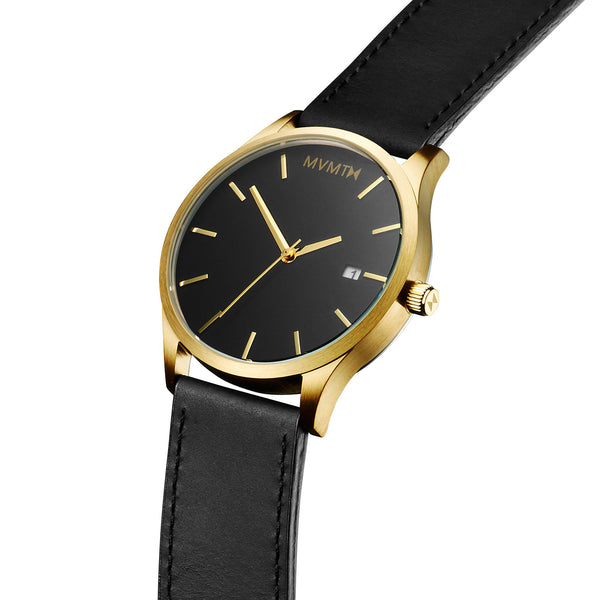 Đồng Hồ MVMT Black/Gold Leather