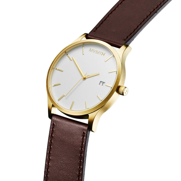Đồng Hồ MVMT White/Gold Leather