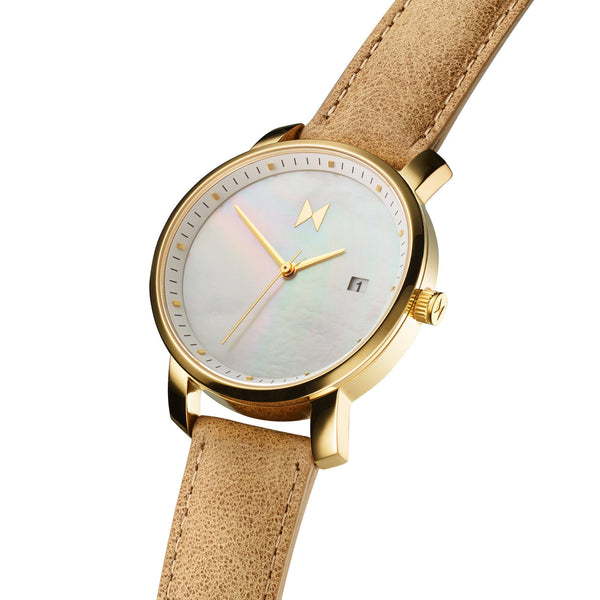 Đồng Hồ MVMT Gold Pearl Leather