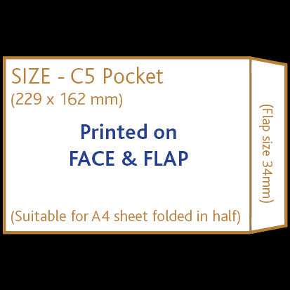 C5 Pocket Envelope (non window) <br> Printed to front and flap