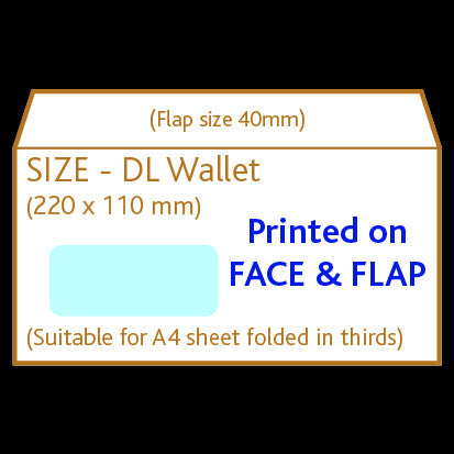 DL Wallet Envelope (window)<br> Printed to front and flap
