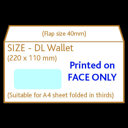 DL Wallet Envelope (window)<br> Printed to front only