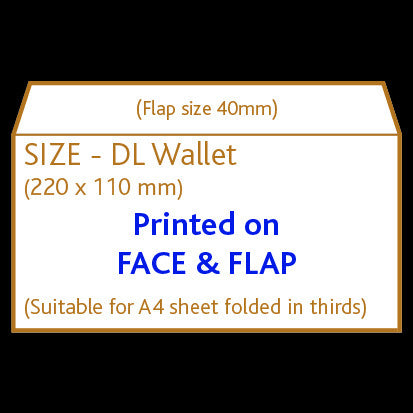 DL Wallet Envelope (non window) <br> Printed to front and flap