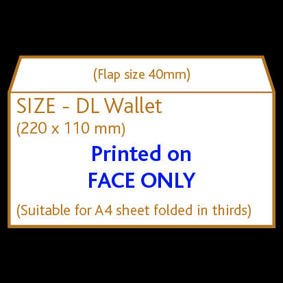DL Wallet Envelope (non window) <br> Printed to front only