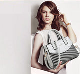 MB0043 Black and White Striped Women Fashion Shoulder Handbags