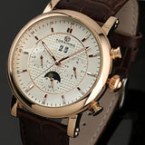 WM395 Forshining Elegant Leather Stainless Steel Moon Phase Automatic Men Watches