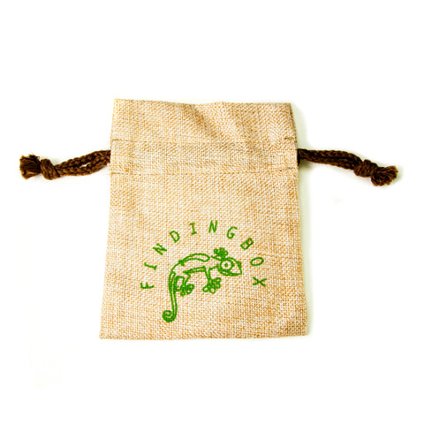 100 PCS Silkscreen Faux Gunny Pouch, Drawstrings On the Neck