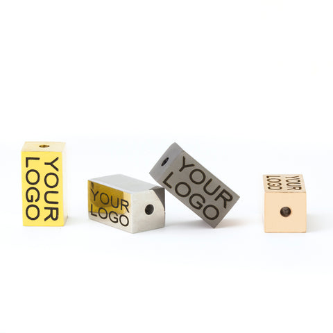Laser Engraved Rectangle Logo Jewelry Beads, Polished Stainless Steel