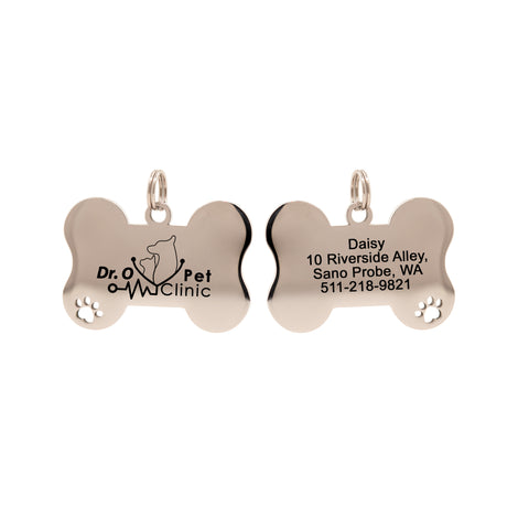 Custom Dog ID Tag Stainless Steel Bone Shaped with Paw Cut-off