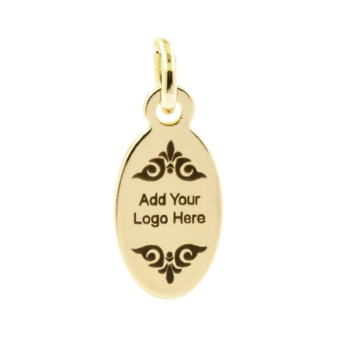 custom metal jewelry tags engraved logo charms for jewelry making