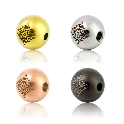 Jewelry Laser Engraved beads, Stainless Steel 8mm/10mm/12mm