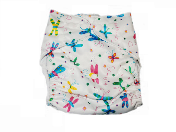 Pocket Diaper With Double Gussets - Butterflies on White