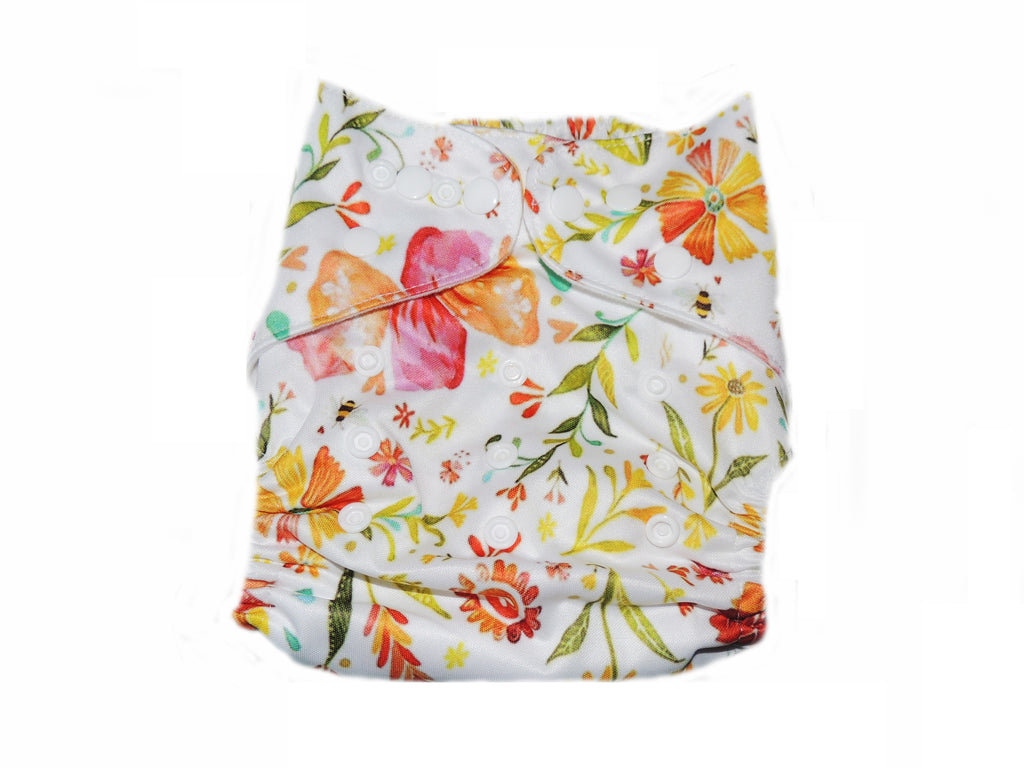 Pocket Diaper With Double Gussets - Field Flowers