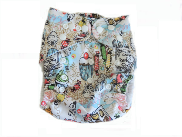 Pocket Cloth Diaper With Double Gussets - Treats