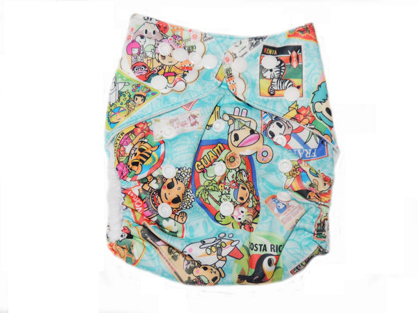 Pocket Diaper With Double Gussets - Around The World