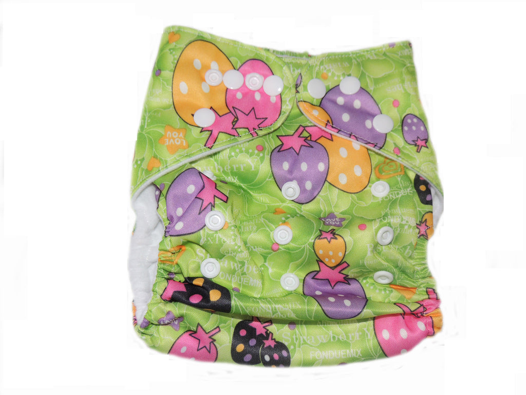 Pocket Diaper With Double Gussets - Strawberries
