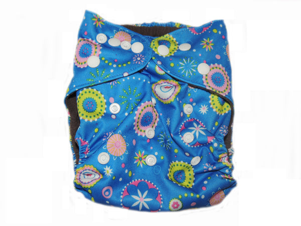 CB Pocket Diaper With Double Gussets - Blue Circular