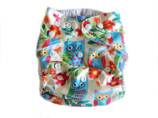 Pocket Cloth Diaper With Double Gussets - Blue Owls & Flowers