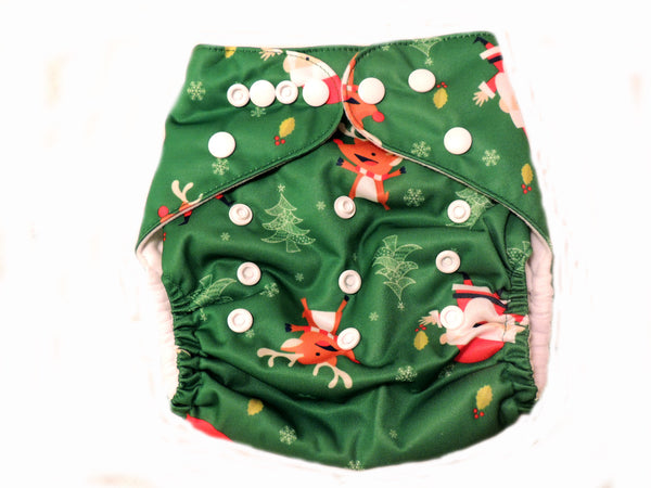 Pocket Diaper With Double Gussets - Christmas