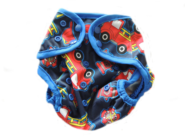 Diaper Cover With Double Gussets - Firetrucks