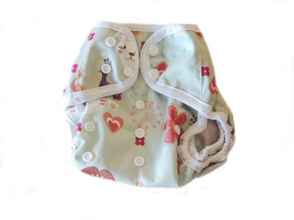 Diaper Cover With Double Gussets - Peacock