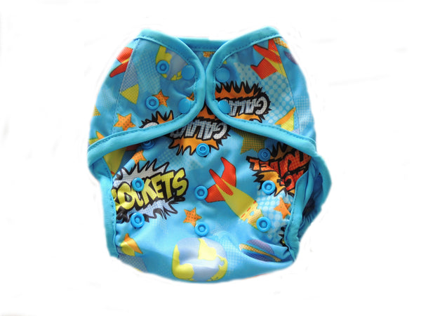 Diaper Cover With Double Gussets - Rockets