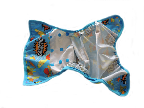Diaper Cover With Double Gussets - Whales