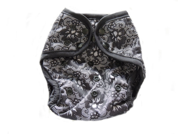 Diaper Cover With Double Gussets - Black Lace