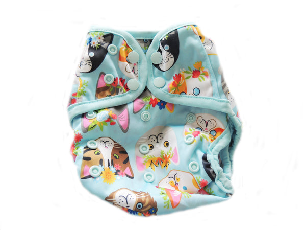 Diaper Cover With Double Gussets - Cats